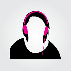 people with headphones listening to music vector illustration
