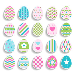 Set of color easter eggs decorated of ornament