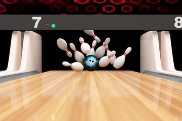 Bowling Strike. Bowling Ball crashing into the Pins