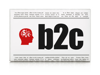 Business concept: newspaper with B2c and Head With Finance