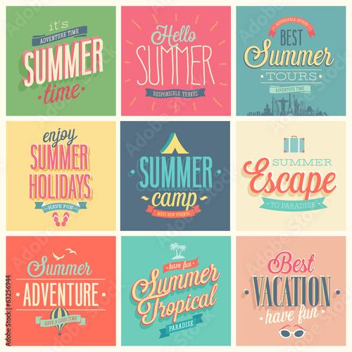 Wall mural Summer set - labels and emblems.