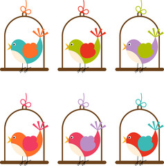 Bird cage colorful digital