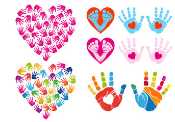 hand print hearts, vector set