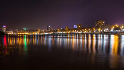Evening shot of promenade on the river Kalmius