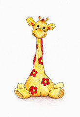 Cute Giraffe on white background