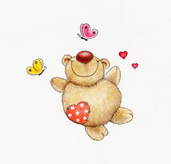 Teddy bear fall in love