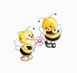 Two bees fall in love