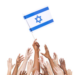 Multi-Ethnic Arms Raised for the Flag of Israel