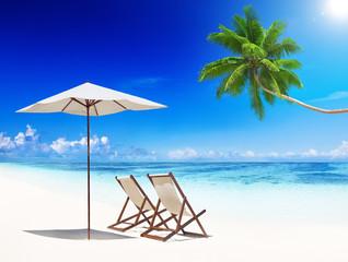 Deck Chairs on Tropical Beach