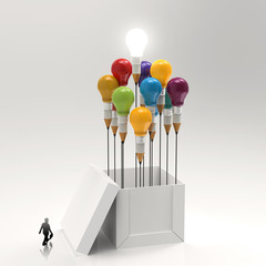 businessman  walking to 3d pencil and light bulb concept outside
