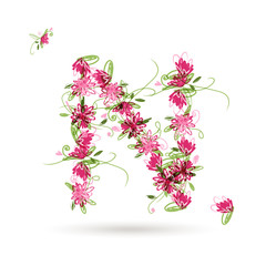 Floral letter N for your design