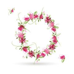 Floral letter O for your design