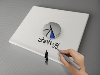 hand drawing business strategy word and 3d pie chart icon canvas