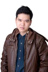 Portrait of asian man wearing jeans shirt amd jacket.