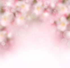 Abstract spring background with pink flowers