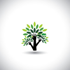recycling, eco tree hand with leaves, helping nature - concept v