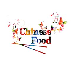 """Colorful vector """"Chinese Food"""" background with butterflies"""