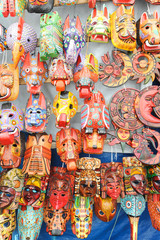 Wooden masks at the market of Chchicastenango