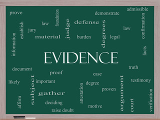 Evidence Word Cloud Concept on a Blackboard