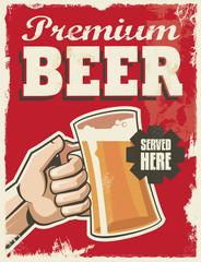 Vintage retro beer poster. Vector design advertising sign.
