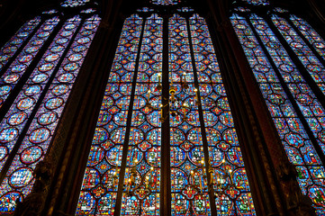 Stained glass window in La Sainte-Chapelle in Paris, France