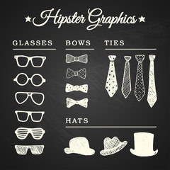 Hipster graphic set with glasses, ties, bows and hats on chalkbo