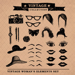 Vintage woman's elements set on the old style background