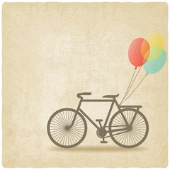 bike with balloons old background
