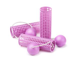 Pink plastic hair curlers