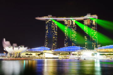 Wall Mural - Marina Bay Sands and Artscience at night.