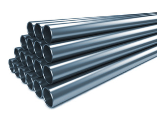 Steel Pipes Isolated on White Background.