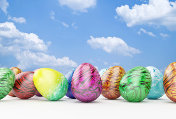 Background with Easter Eggs on sky background