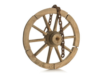 antique wheel on white background