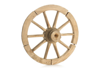 antique wheel on white background