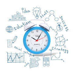 Alarm clock with business sketches