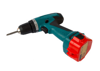 Cordless drill isolated on white background.