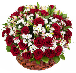 Natural red roses in a basket