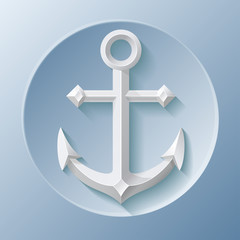 Nice anchor icon with shadow on blue