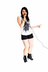Girl singing.