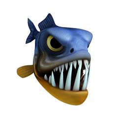 cartoon of piranha