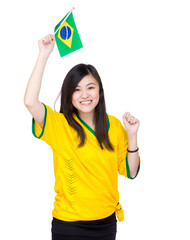 Excited Asia woman hold Brazil flag