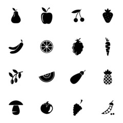 Vector black fruits and vegetables icons set