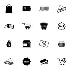 Vector black  shop icons set