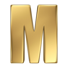 Letter M from gold solid alphabet