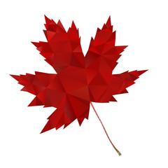 Red Maple Leaf Symbol Polygonal Design Vector Illustration