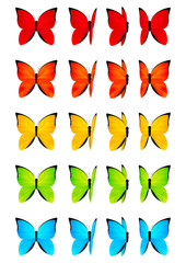 Set of color butterflies isolated on white