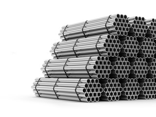 Stack of Steel Metal Tubes isolated on white background