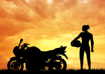 Wall Mural - woman motorcyclist