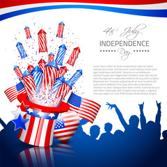 Independence Day Background with silhouettes - Vector