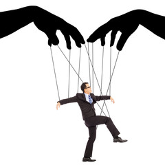 black hands shadow control a businessman action